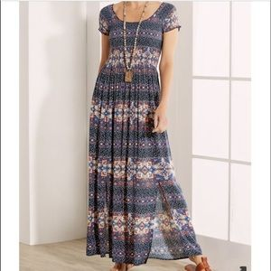 Soft Surroundings Macelo Navy Floral Maxi Dress